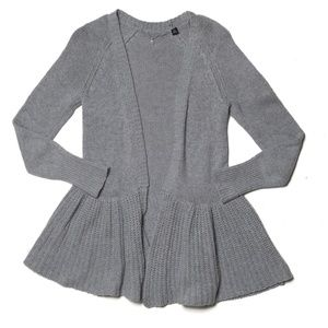 Knitted & Knotted Cody Peplum Cardigan In Grey